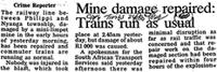 Mine damage repaired: Trains run as usual