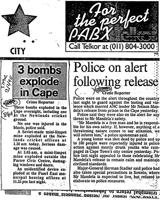 3 bombs explode in Cape