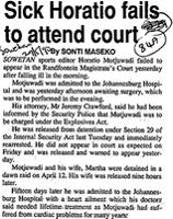 Sick Horatio fails to attend court