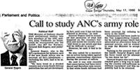 Call of study ANC's army role