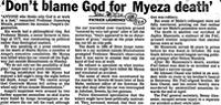 'Don't blame God for Myeza death'
