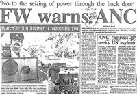 FW Warns ANC