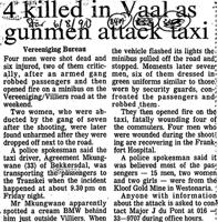 4 Killed in Vaal as gunment attack taxi