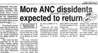 More ANC dissidents expected to return