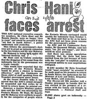 Chris hani faces arrest