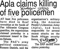 Alpa claims killing of five policemen