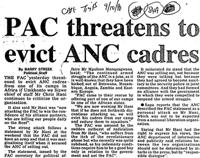 PAC threatens to evict ANC cadres
