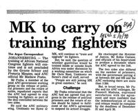 MK to carry on training fighters