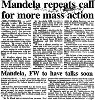 Mandela repeats call for more mass action