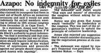 Azapo: No indemnity for Exiles
