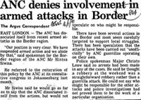ANC denies involvement in armed attacks in Border