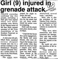 Girl (9) injured in grenade attack