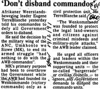 'Don't disband commandos'