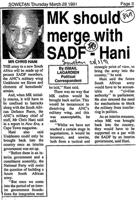 MK should merge with SADF-Hani