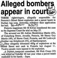 Alleged bombers appear in court