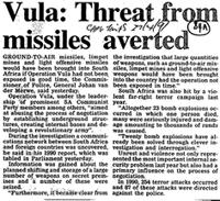 Vula: Threat from missiles averted