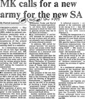 MK calls for a new army for the new SA