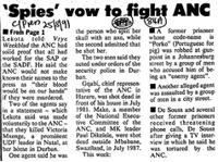 'Spies' vow to fight ANC