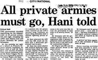 All private armies must go, Hani told
