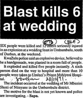 Blast kills 6 at wedding