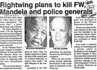 Rightwing plans to kill FW, Mandela adn police generals