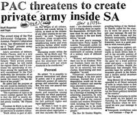 PAC threatens to create private army inside SA