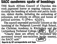SACC condemns spate of bombings