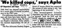 'We killed cops; says apla