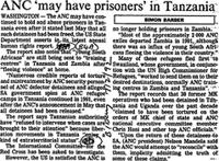 ANC 'may have prisoners' in Tanzania