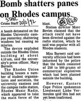 Bomb shatters panes on rhodes campus