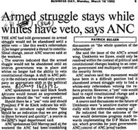 Armed struggle stays while whites have veto, says ANC