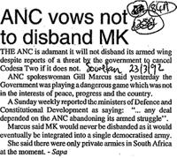 ANC vows not to disband MK
