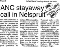 ANC stayaway call in Nelspruit
