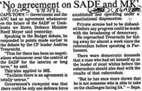 'No agreement on SADF and MK'
