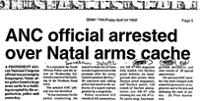 ANC official arrested over Natal arms cache