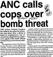 ANC calls cpos over bomb threat