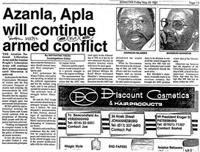 Azanla, Apla will continue armed conflict