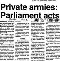 Private armies: Parliament acts