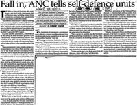 Fall in, ANC tells self-defence units