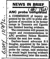 NEWS IN BRIEF ANC probe completed