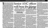 Senior ANC officer will bear the blame