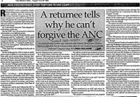 A returnee tells why he can't forgive the ANC
