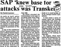 SAP 'knew base for attacks was Transkei'