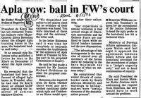 Apla row: ball in FW's court