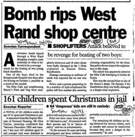 Bomb rips West Rand shop centre