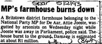 MP's farmhous burns down