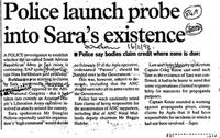 Police launch probe into Sara's existence