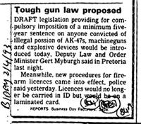 Tought gun law proposed