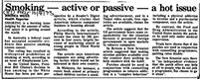 Smoking -- Active or passive -- a hot issue