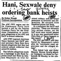 Hani, Sexwale deny ordering bank heists